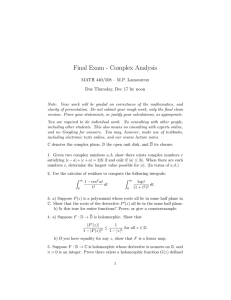 Final Exam - Complex Analysis MATH 440/508 – M.P. Lamoureux