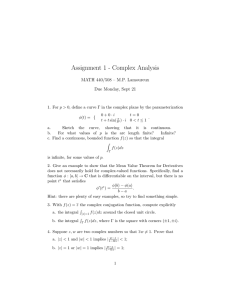 Assignment 1 - Complex Analysis MATH 440/508 – M.P. Lamoureux