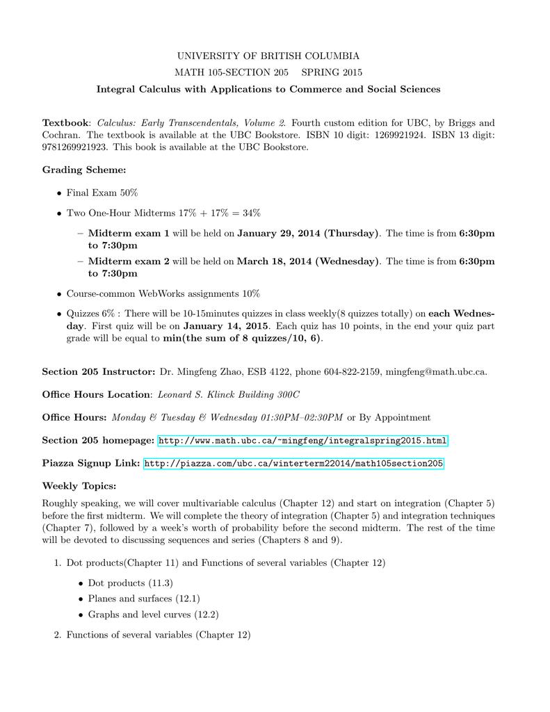 UNIVERSITY OF BRITISH COLUMBIA MATH 105-SECTION 205 SPRING 2015
