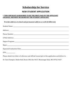 Scholarship	for	Service NEW STUDENT APPLICATION