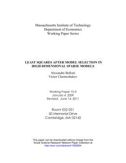 Massachusetts Institute of Technology Department of Economics Working Paper Series