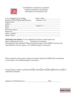 UNIVERSITY OF SOUTH ALABAMA Graduate Internship in Gerontology Field Supervisor Evaluation Form