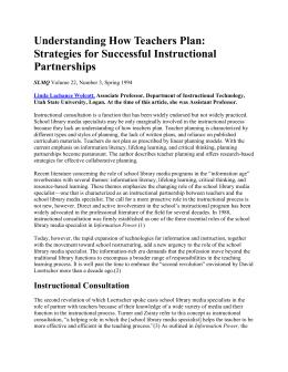 Understanding How Teachers Plan: Strategies for Successful Instructional Partnerships