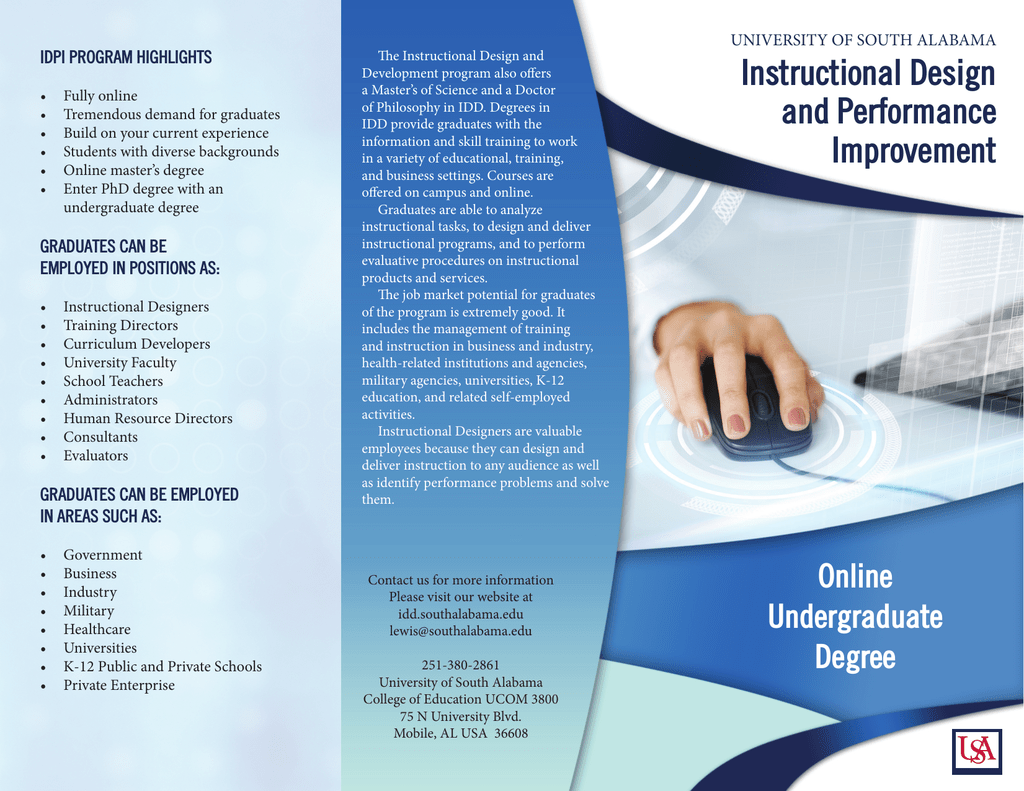 Instructional Design And Performance Idpi Program Highlights University Of South Alabama