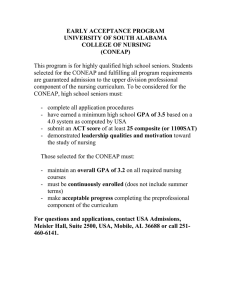 EARLY ACCEPTANCE PROGRAM UNIVERSITY OF SOUTH ALABAMA COLLEGE OF NURSING (CONEAP)