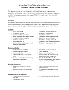 University of South Alabama Human Resources Supervisor Checklist for New Employees