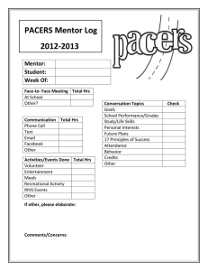 PACERS Mentor Log 2012-2013 Mentor: Student: