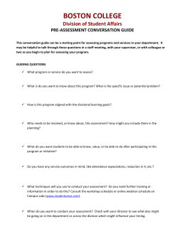 BOSTON COLLEGE Division of Student Affairs PRE-ASSESSMENT CONVERSATION GUIDE