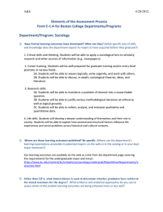 Elements of the Assessment Process Form E-1-A for Boston College Departments/Programs