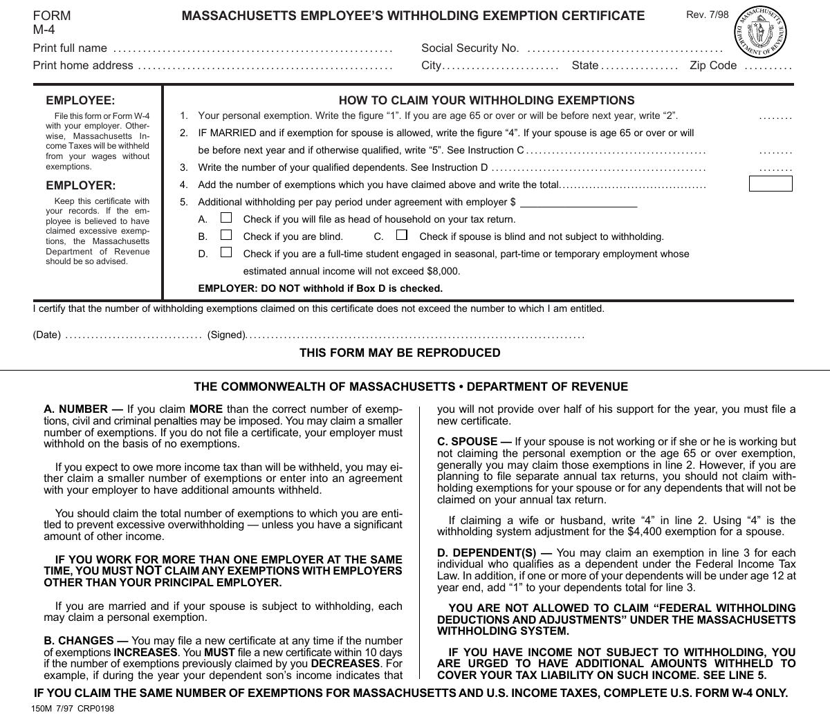 MASSACHUSETTS EMPLOYEE'S WITHHOLDING EXEMPTION CERTIFICATE FORM M-4