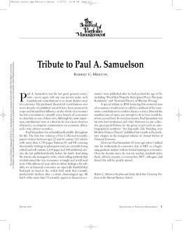 Tribute to Paul A. Samuelson R C. M
