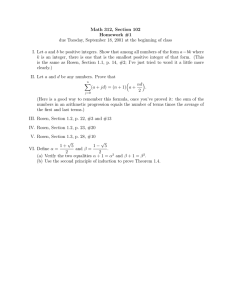 Math 312, Section 102 Homework #1 a