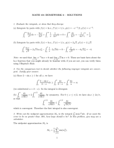MATH 101 HOMEWORK 6 – SOLUTIONS −x /
