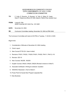CITY UNIVERSITY  CURRICULUM COMMITTEE