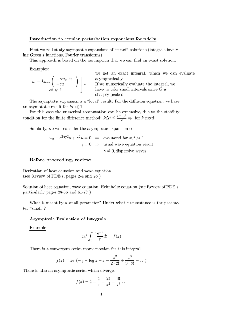 Introduction to regular perturbation expansions for pde's:
