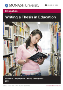 Writing a Thesis in Education Education Academic Language and Literacy Development 2014