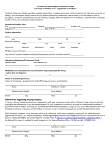 Personal Data and Emergency Information Sheet  University of Northern Iowa ‐ Department of Residence