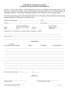 UNIVERSITY OF SOUTH ALABAMA CHARTER AIR TRANSPORTATION REQUEST
