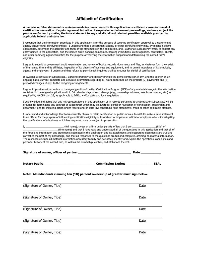 Affidavit Of Certification