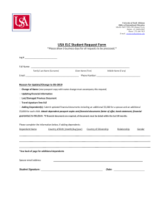 USA ELC Student Request Form :