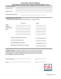 University of South Alabama Team/Student Group Cash Advance Reconciliation Form
