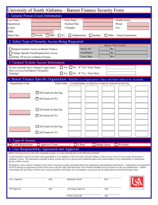 University of South Alabama – Banner Finance Security Form