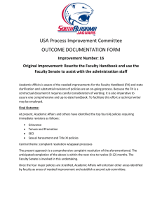 USA Process Improvement Committee OUTCOME DOCUMENTATION FORM