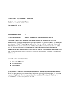 USA Process Improvement Committee Outcome Documentation Form December 22, 2014