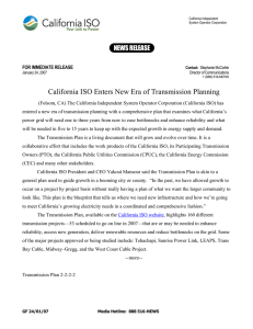 California ISO Enters New Era of Transmission Planning NEWS RELEASE