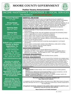 MOORE COUNTY GOVERNMENT INCOME MAINTENANCE CASEWORKER II - SOCIAL SERVICES