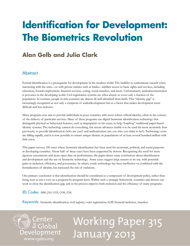 Identification for Development: The Biometrics Revolution Alan Gelb
