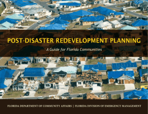 POST-DISASTER REDEVELOPMENT PLANNING A Guide for Florida Communities