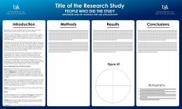 Title of the Research Study Methods Conclusions PEOPLE WHO DID THE STUDY