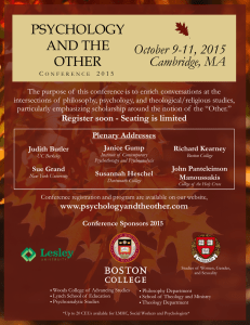PSYCHOLOGY AND THE OTHER October 9-11, 2015