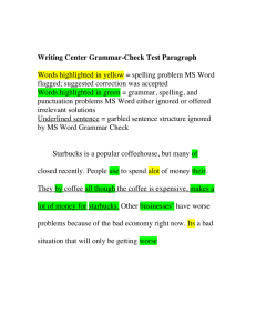 Writing Center Grammar-Check Test Paragraph  flagged; suggested correction was accepted