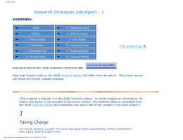 Research Strategies (abridged) - 1 PDF of this Page CONTENTS:
