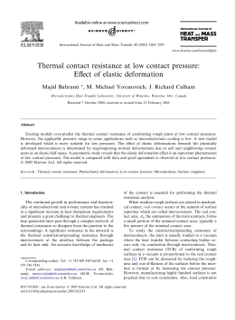 Thermal contact resistance at low contact pressure: Effect of elastic deformation
