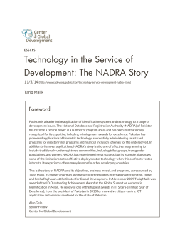 Technology in the Service of Development: The NADRA Story Foreword ESSAYS