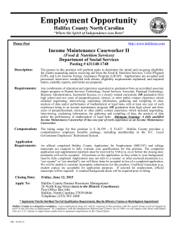 Employment Opportunity Halifax County North Carolina Income Maintenance Caseworker II