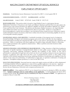 MACON COUNTY  DEPARTMENT OF SOCIAL SERVICES  EMPLOYMENT OPPORTUNITY