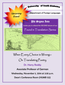 When Every Choice is Wrong:– On Translating Poetry Phi Sigma Iota