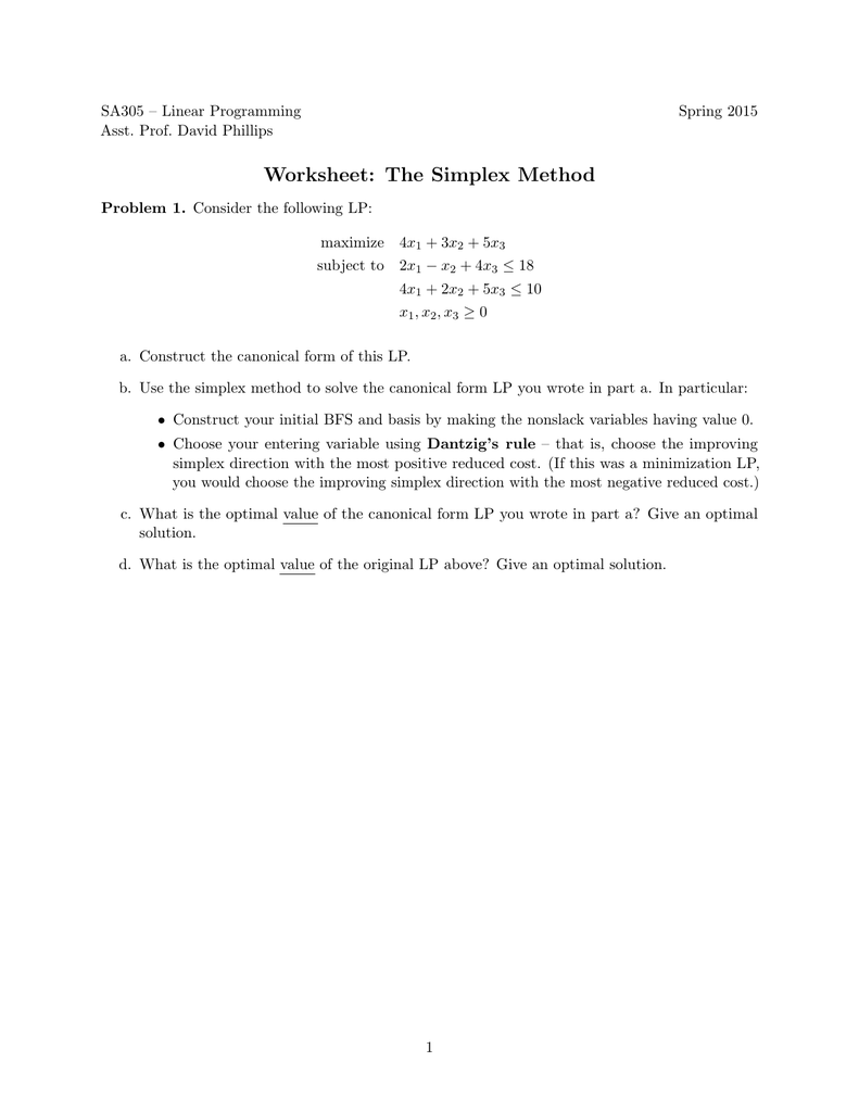 Worksheet: The Simplex Method