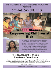 Second Chances: Empowering Children at Risk SONAL ZAVERI, PhD