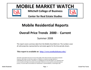 MOBILE MARKET WATCH Mobile Residential Reports Overall Price Trends 2000 Current Overall Price Trends  2000 ‐  Current
