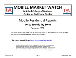 MOBILE MARKET WATCH Mobile Residential Reports  Price Trends  by Zone Mitchell College of Business