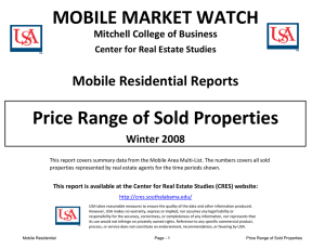 MOBILE MARKET WATCH Price Range of Sold Properties Mobile Residential Reports Winter 2008