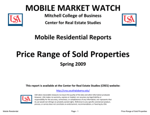 MOBILE MARKET WATCH Price Range of Sold Properties Mobile Residential Reports Spring 2009