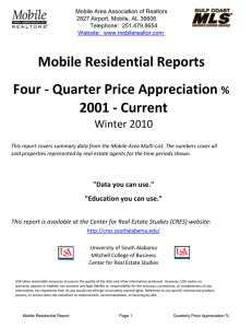 Mobile Residential Reports Four - Quarter Price Appreciation 2001 - Current Winter 2010