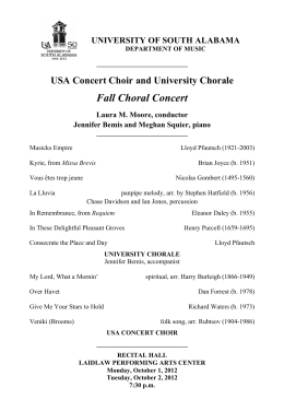 Fall Choral Concert USA Concert Choir and University Chorale