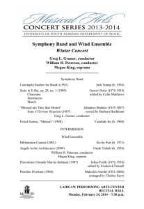 Symphony Band and Wind Ensemble Winter Concert Greg L. Gruner, conductor